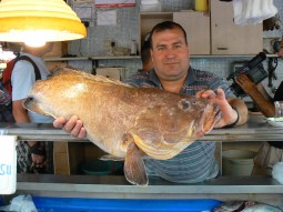 Fish monger in Turkey holding up his prize catch