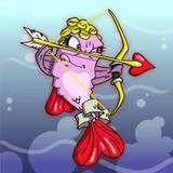 Cupid fish cartoon comic holding a bow and arrow with a heart