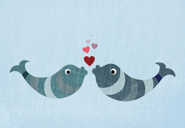 Two fish kissing with a heart by Jutta Kuss