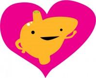 Valentine liver in heart symbol