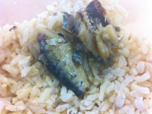 sardines on brown rice