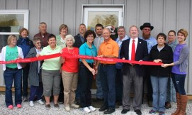 ribbon cutting ceremony on the shrimp farm